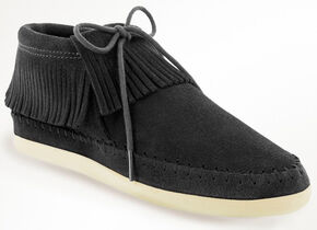 Minnetonka Women's Venice Lace-Up Moccasins, Black, hi-res