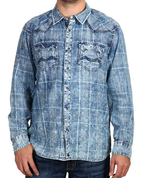 Cody James Men's Denim and Plaid Long Sleeve Shirt, Navy, hi-res