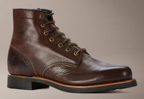 Frye Men's Arkansas Mid Lace Boots - Round Toe, Dark Brown, hi-res