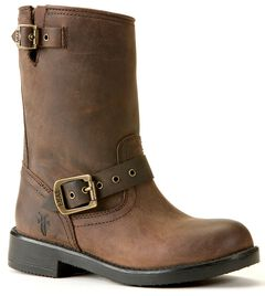 Frye Boys' Brown Engineer Pull-On Boots, , hi-res