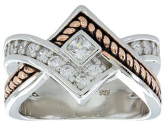 Montana Silversmiths Women's Clasped in Rope & Star Light Ring, , hi-res