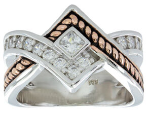 Montana Silversmiths Women's Clasped in Rope & Star Light Ring, Multi, hi-res