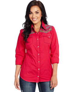Cowgirl Up Enzyme-Washed Embroidered Woven Shirt , , hi-res
