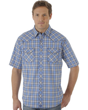 Wrangler 20X Men's Blue and Navy Plaid Short Sleeve Snap Shirt , Blue, hi-res