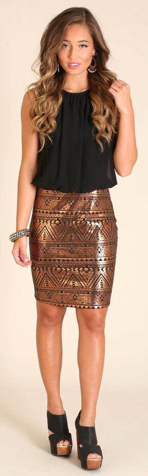 Wrangler Women's Sleeveless Aztec Dress, Brown, hi-res