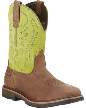 Ariat Waterproof Work Groundbreaker Cowboy Boots - Wide Square Toe, Brown, hi-res