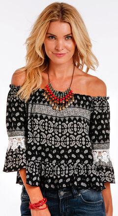 Panhandle Slim Women's Black Paisley Print Off the Shoulder Shirt , , hi-res