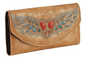 Blazin Roxx Heart & Wing Inlay Wallet, Tan, hi-res