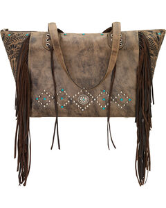 American West Rustic Brown Canyon Creek Canyon Large Zip Top Tote , , hi-res