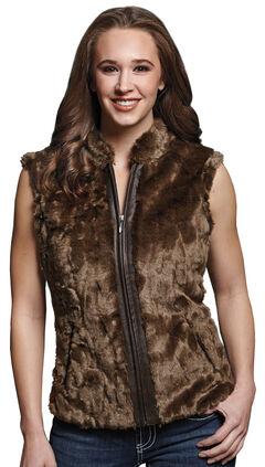 Cripple Creek Women's Faux Fur Brown Sweater Vest, , hi-res