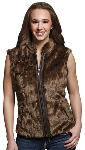 Cripple Creek Women's Faux Fur Brown Sweater Vest, Taupe, hi-res