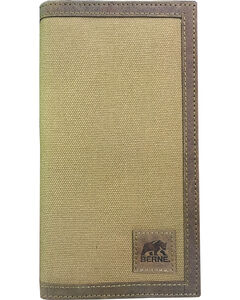Berne Men's Canvas Leather Trim Checkbook Wallet , , hi-res