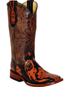 Ferrini Burnt Orange Embossed Cross Cowgirl Boots - Square Toe, , hi-res