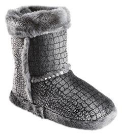 Blazin Roxx Girls' Silver Croc Print Plush Bootie Slippers, , hi-res
