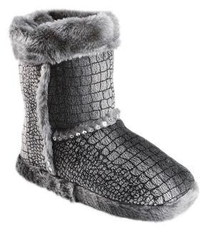 Blazin Roxx Girls' Silver Croc Print Plush Bootie Slippers, Grey, hi-res