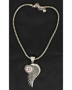Blazin Roxx Winged Heart Tiny Rhinestone Necklace, , hi-res