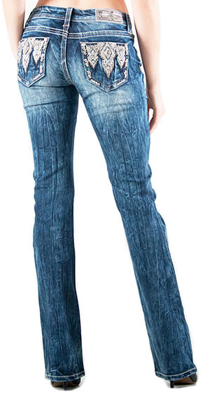 Grace in LA Women's Easy Fit Aztec Pocket Bootcut Jeans , Indigo, hi-res