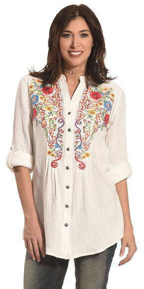 Tasha Polizzi Women's Emmylou Embroidered Shirt , Ivory, hi-res