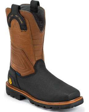 Justin Original Work Boots Work-Tek Tec Tuff Work Boots - Comp Toe , Black, hi-res