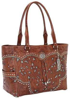 American West Fancy Leather Inlay Carry-On Tote, Brown, hi-res
