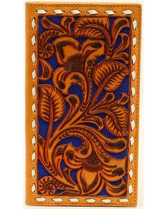 Nocona Men's Blue Floral Embossed Rodeo Wallet, , hi-res