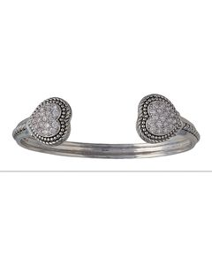 Montana Silversmiths Double Pave Heart Cuff Bracelet, , hi-res