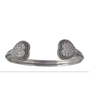Montana Silversmiths Double Pave Heart Cuff Bracelet, Silver, hi-res