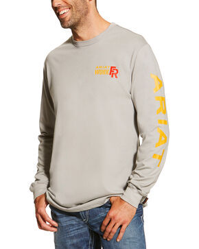 Ariat Men's Grey FR Logo Crew Neck Long Sleeve Shirt, Grey, hi-res
