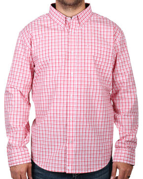 Cody James Men's Check Patterned Long Sleeve Shirt - Big & Tall, Peach, hi-res