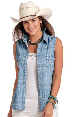 Panhandle Women's Printed Chambray Sleeveless Shirt - Plus Size, Indigo, hi-res