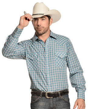 Ely Men's Turquoise Dobby Check Long Sleeve Western Shirt , Turquoise, hi-res