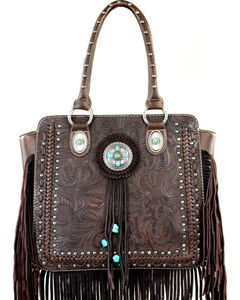 Montana West Trinity Ranch Collection Tooled Fringe Handbag, , hi-res