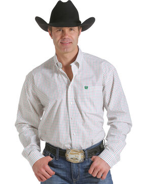 Cinch Men's White Open Plaid Western Shirt , White, hi-res