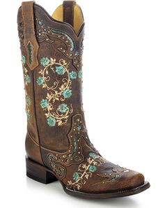 Corral Women's Studded Floral Embroidery Cowgirl Boots - Square Toe, , hi-res