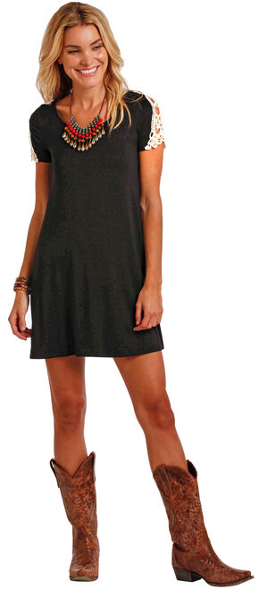 Panhandle Slim Women's Cap Sleeve Swing Dress , Black, hi-res