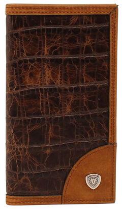 Ariat Croc Print Shield Rodeo Wallet, , hi-res