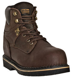 "McRae 6"" Lace-Up Work Boots - Round Toe, Dark Brown, hi-res"