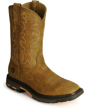 Ariat Workhog Western Work Boots - Steel Square Toe, Bark, hi-res