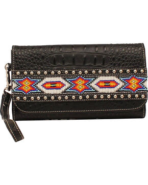 Blazin Roxx Bead Ribbon Black Clutch Wallet, Black, hi-res