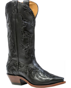 Boulet Dankan Black Torino Calf Inlay Cowgirl Boots - Snip Toe, , hi-res