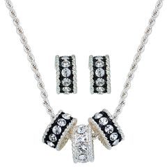 Montana Silversmiths Triple Rings Necklace & Earrings Set, , hi-res
