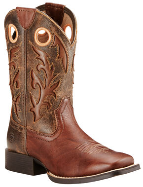 Ariat Youth Boy's Brown Barstow Boots - Wide Square Toe , Brown, hi-res