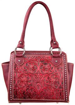 Montana West Trinity Ranch Red Tooled Design Handbag, , hi-res