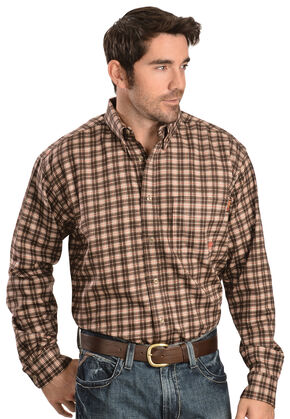 Ariat Work FR Men's Plaid Long Sleeve Flame Resistant Work Shirt, Brown, hi-res