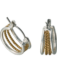 Montana Silversmiths Gold Rope Hoop Earrings, Multi, hi-res