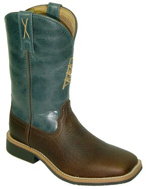 Twisted X Boys' Blue Cowkid Work Boots - Square Toe, Cognac, hi-res