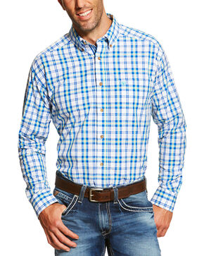 Ariat Men's Blue Isaac Long Sleeve Shirt , Blue, hi-res