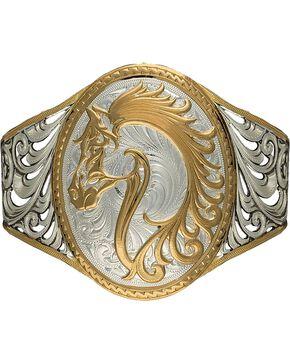 Montana Silversmiths 2-Tone Open Filgree Horsehead Cuff Bracelet, Silver, hi-res