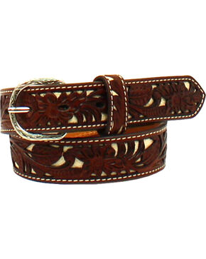Nocona Boys' Leather Floral Pierced Stitch Belt , Tan, hi-res