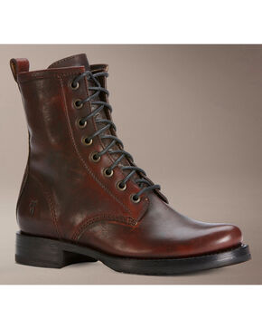 Frye Veronica Brown Combat Boots, Dark Brown, hi-res